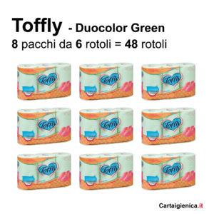 toffly carta igienica duocolor colorata 48 rotoli verde
