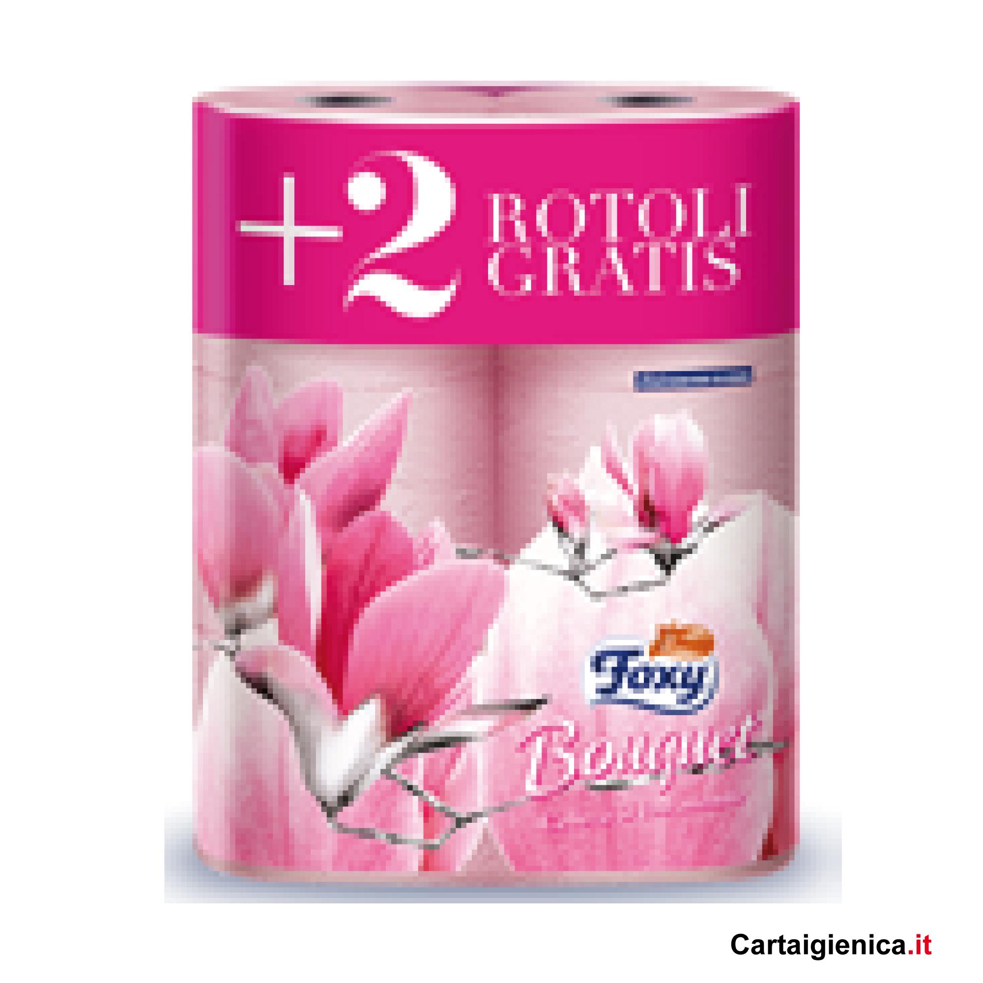 foxy bouquer rosa carta igienica 6 rotoli offerta
