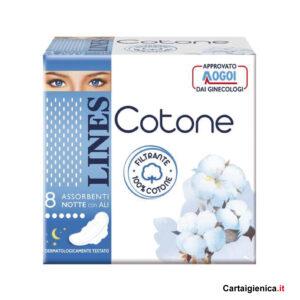 lines cotone notte con le ali 8 assorbenti 1 pacco