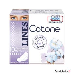 lines cotone assorbenti ultra con ali 10 pezzi 1 pacco