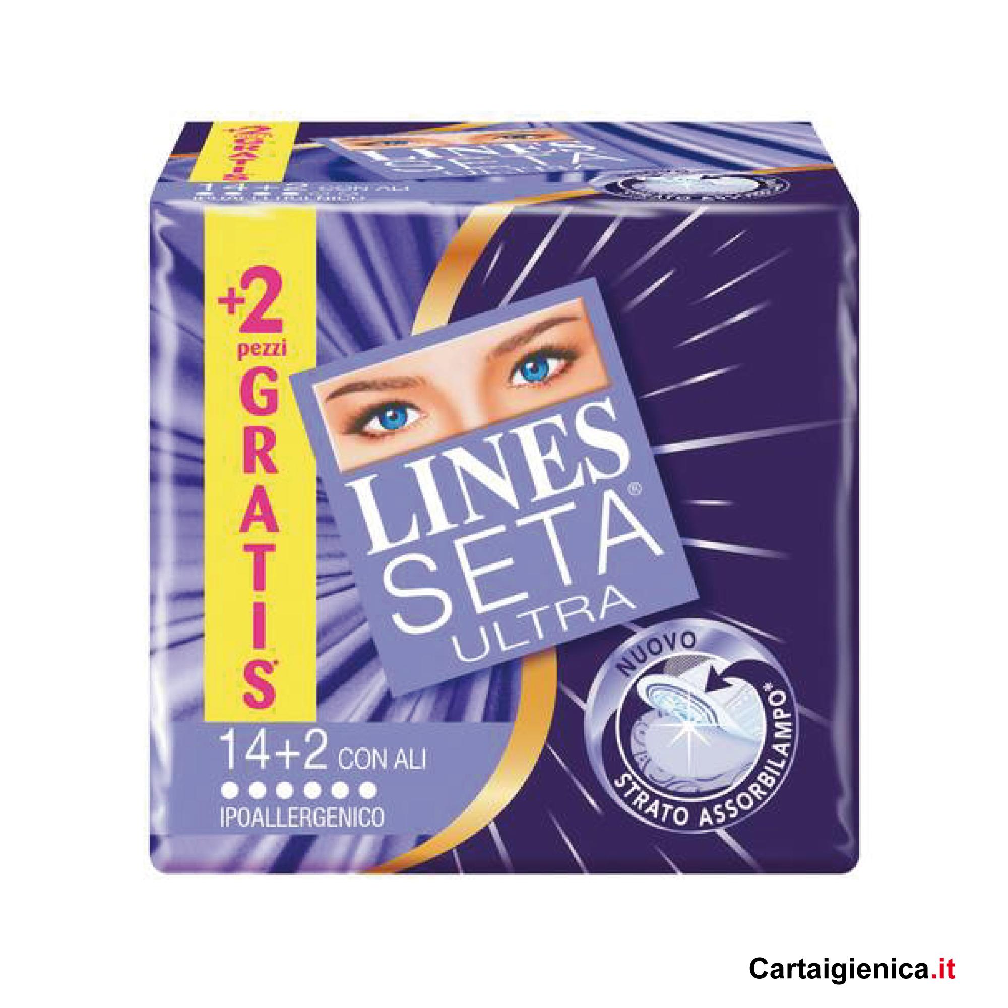 lines seta ultra con ali 14+2 assorbenti 1 pacco