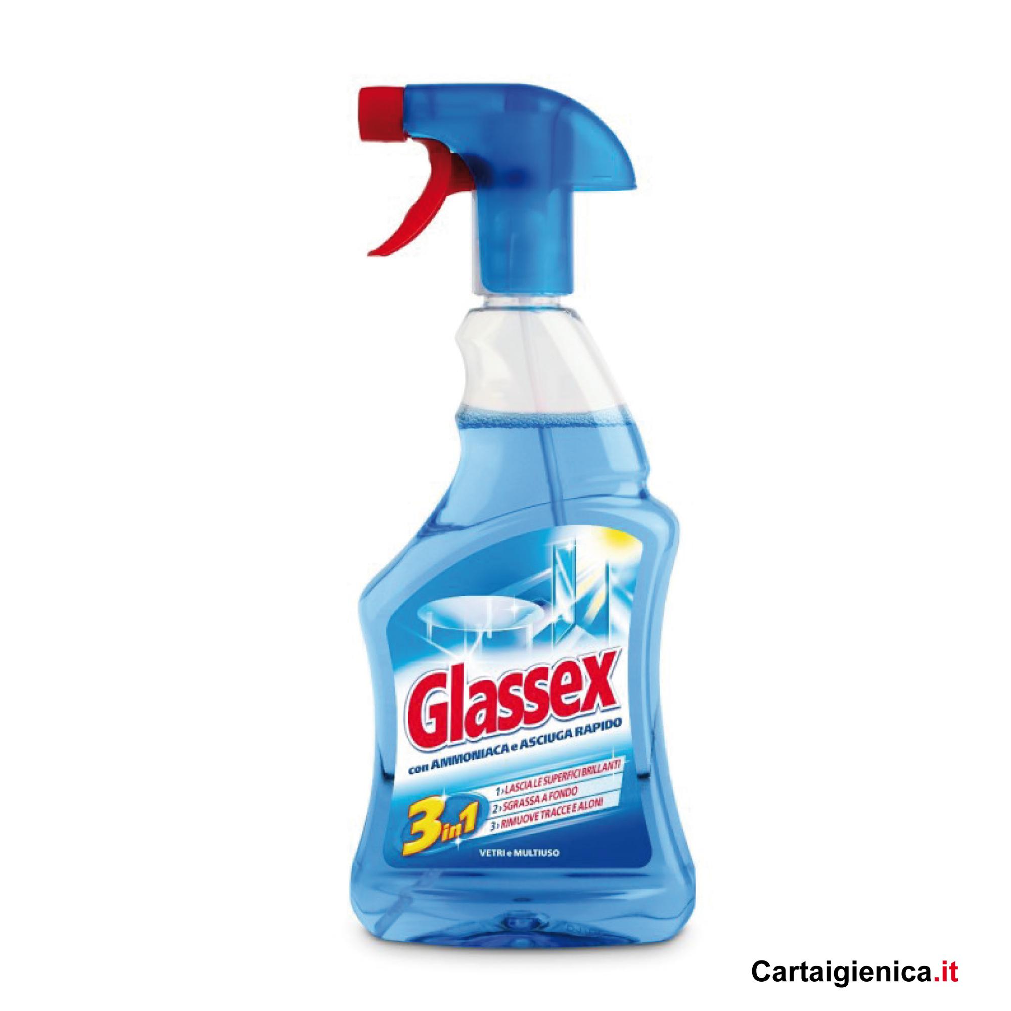 glassex 3in1 con ammoniaca per vetri e multiuso spray 500 ml