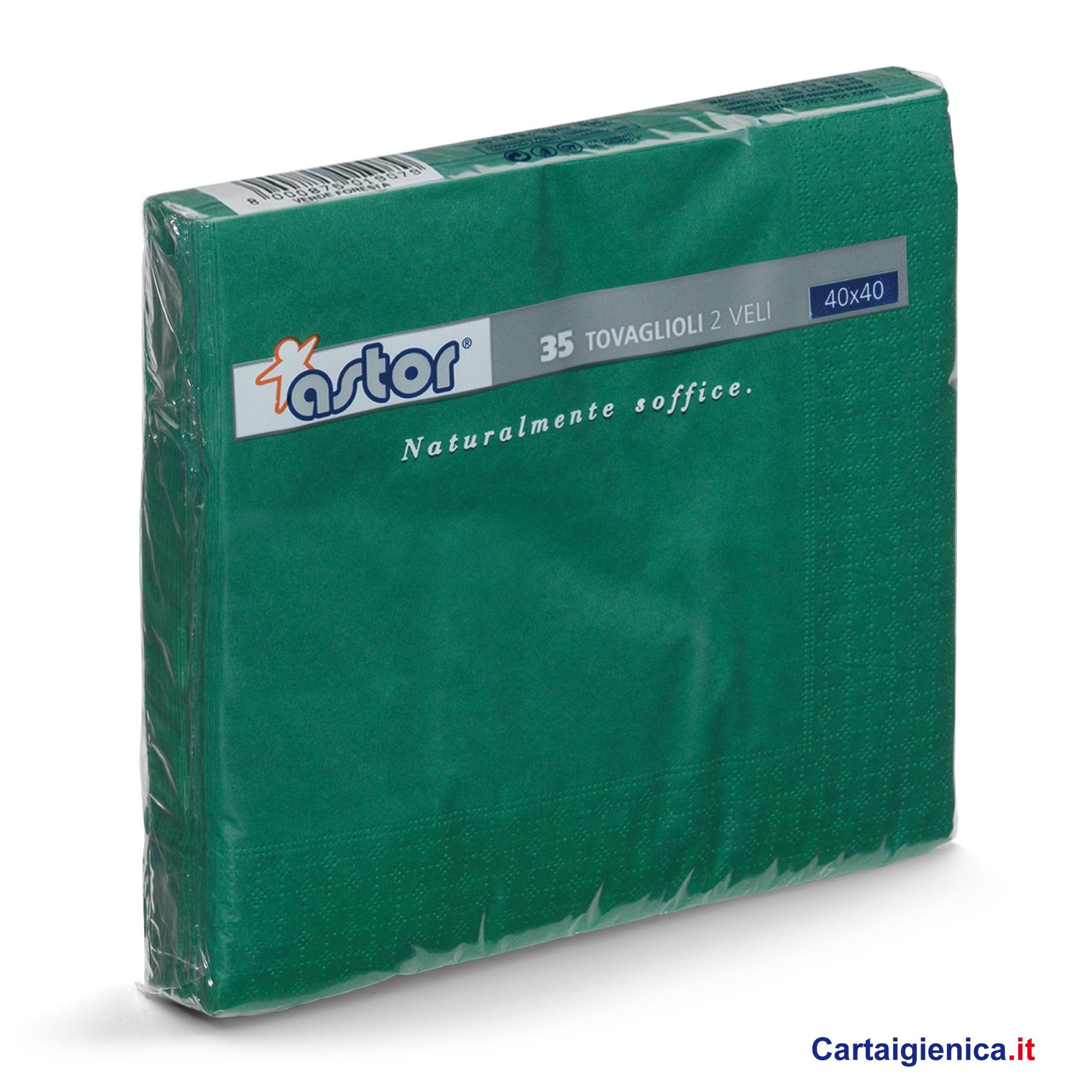 Astor 35 Tovaglioli Verde 2 veli 40x40 cm