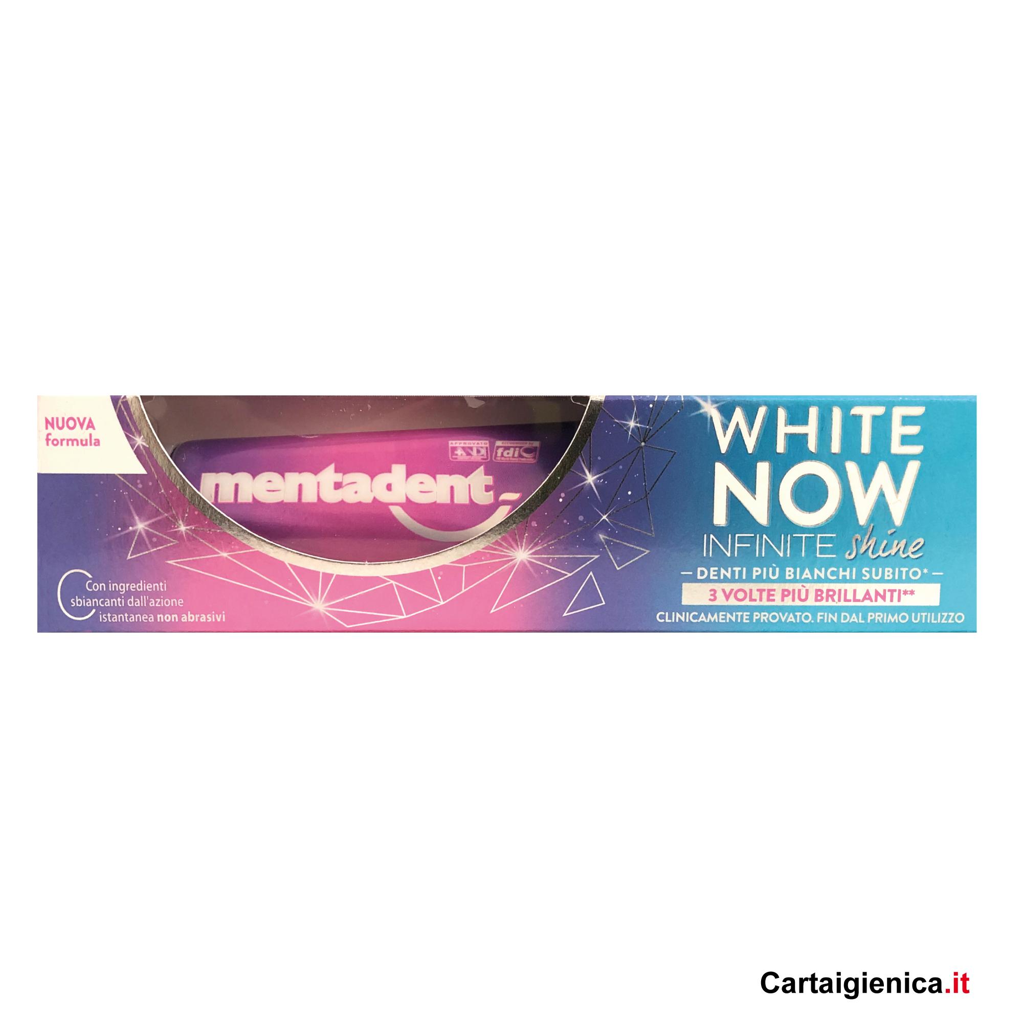 mentadent dentifricio white now infinitite shine