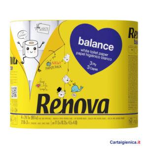 renova carta igienica balance 4 rotoli 3 veli