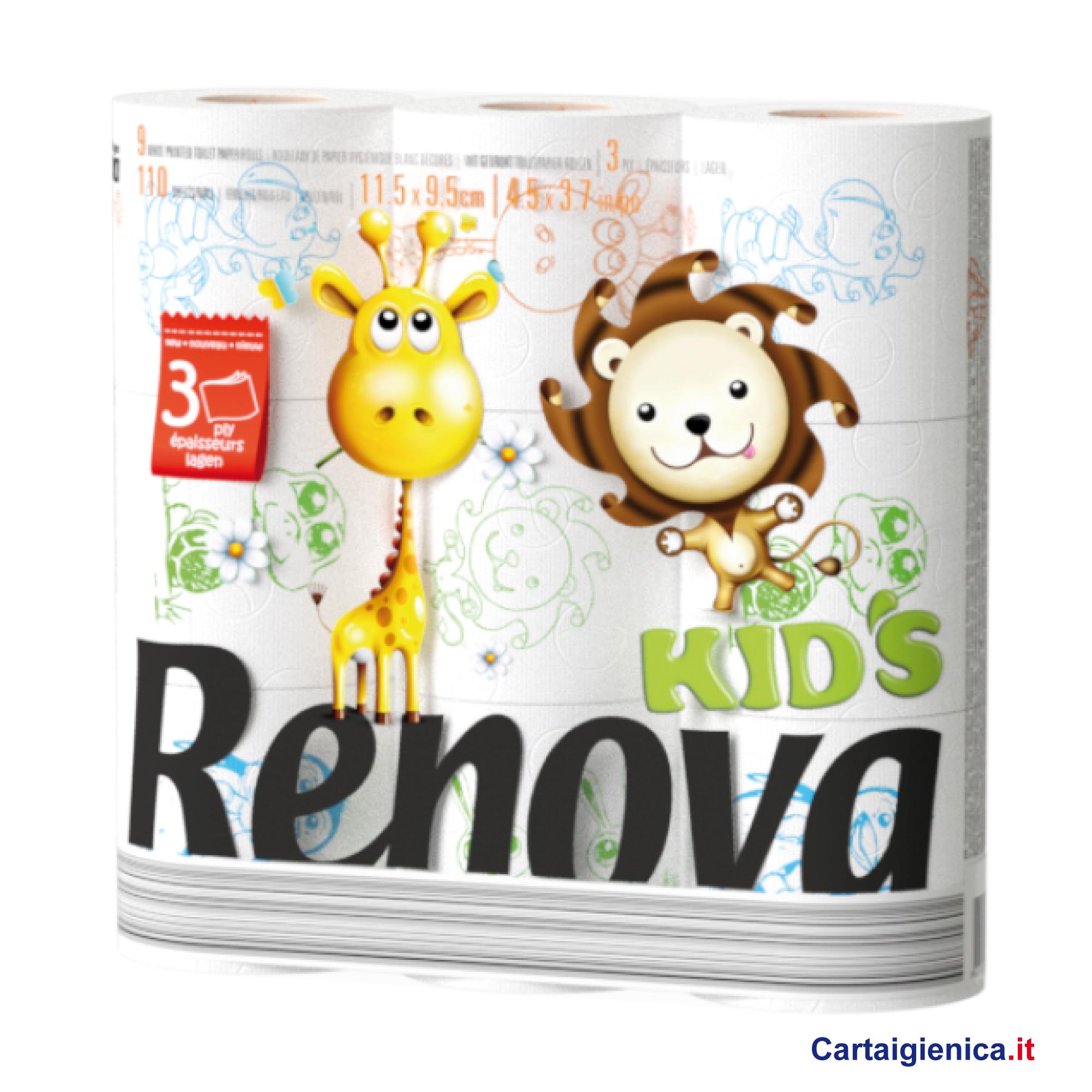 renova kids carta igienica per bambini con colori e disegni misti