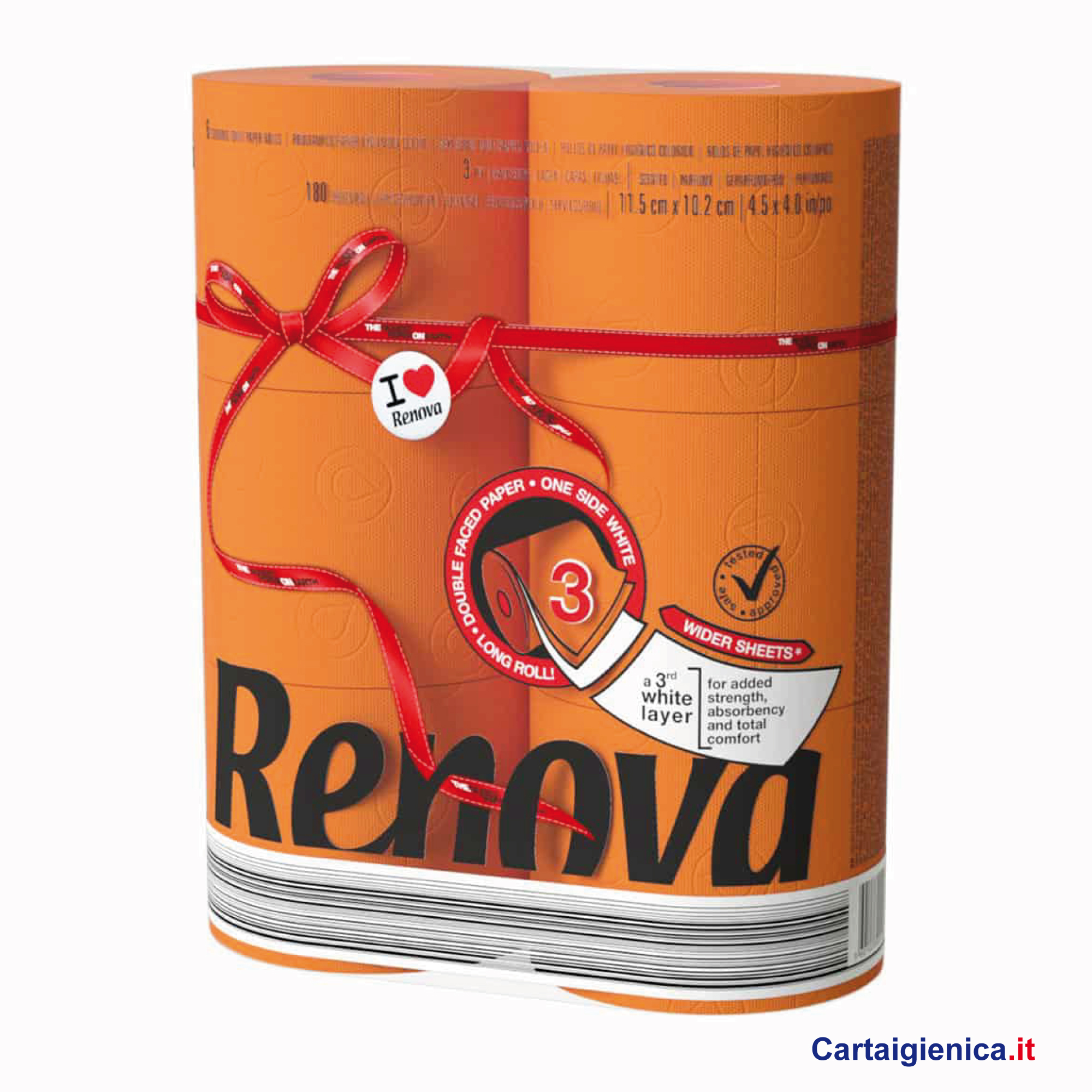 renova carta igienica colorata arancio 6 rotoli cartaigienica.it