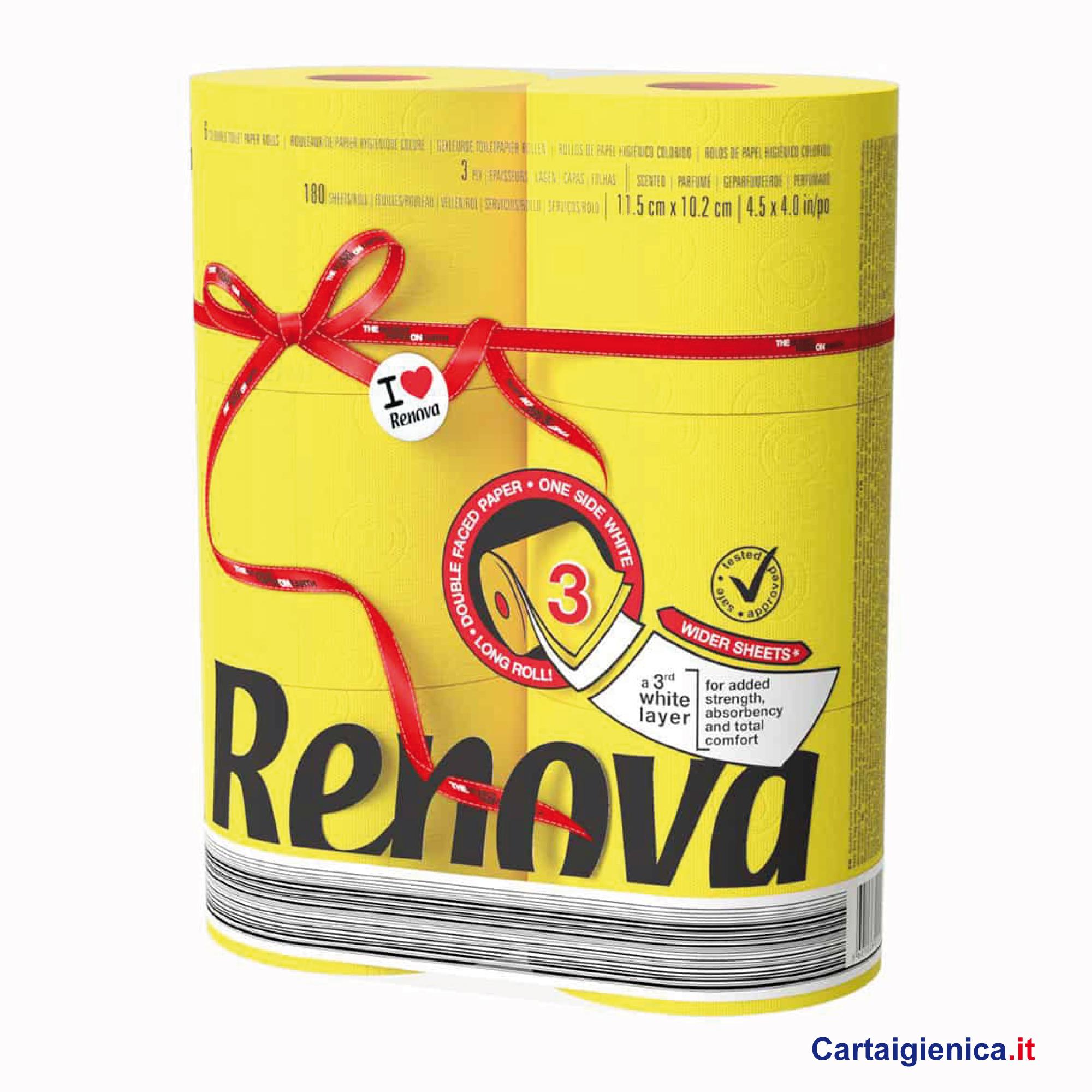 renova carta igienica colorata giallo 6 rotoli cartaigienica.it