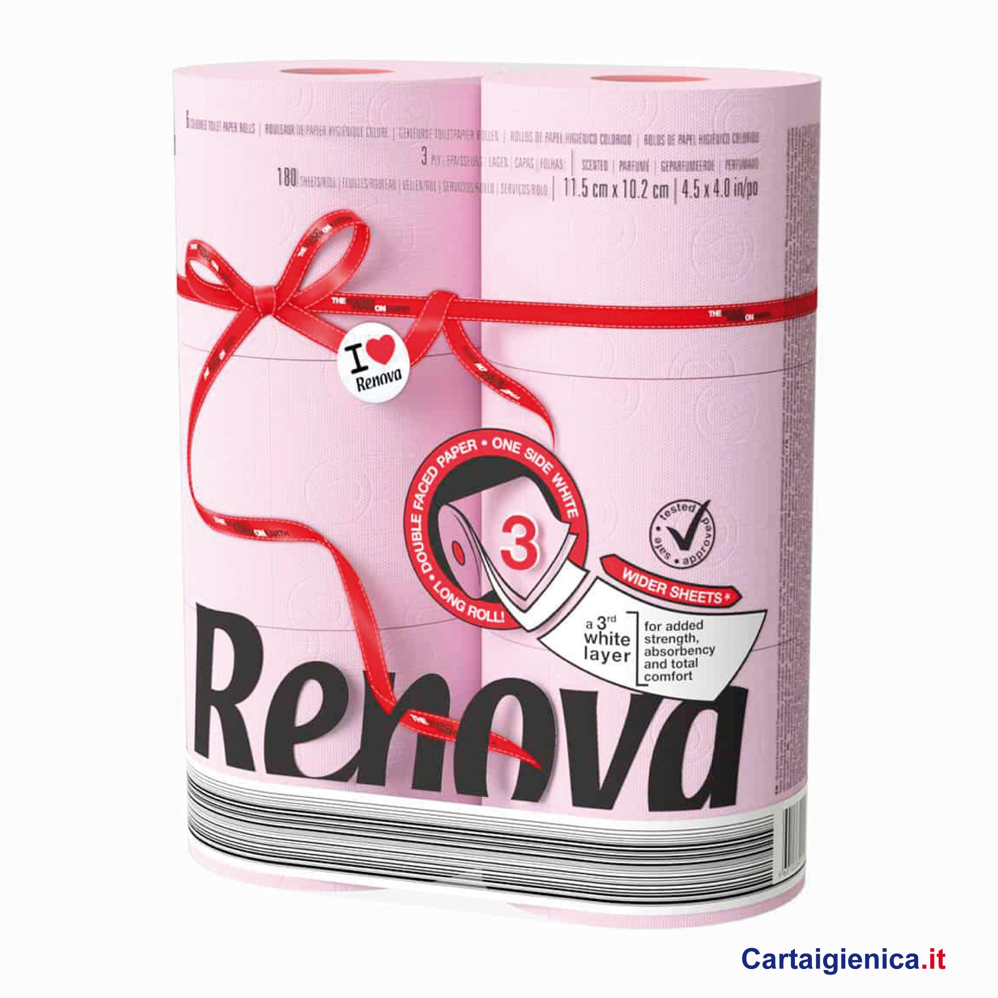 renova carta igienica colorata rosa 6 rotoli cartaigienica.it