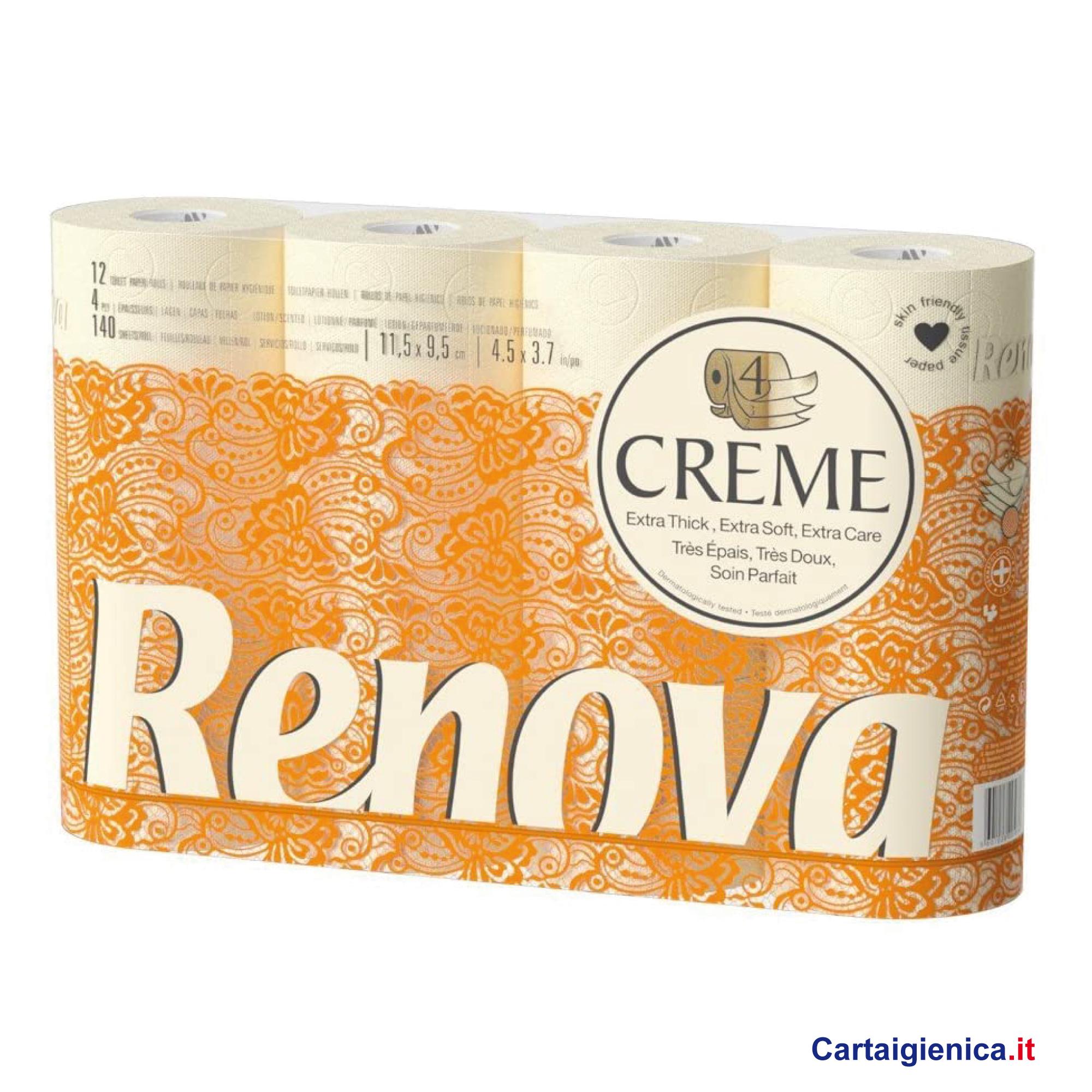 renova creme carta igienica morbida e delicata 4 veli 12 rotoli
