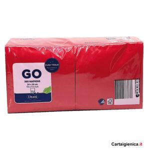 duni 300 tovaglioli rossi colorati 2 veli 24x24 cm