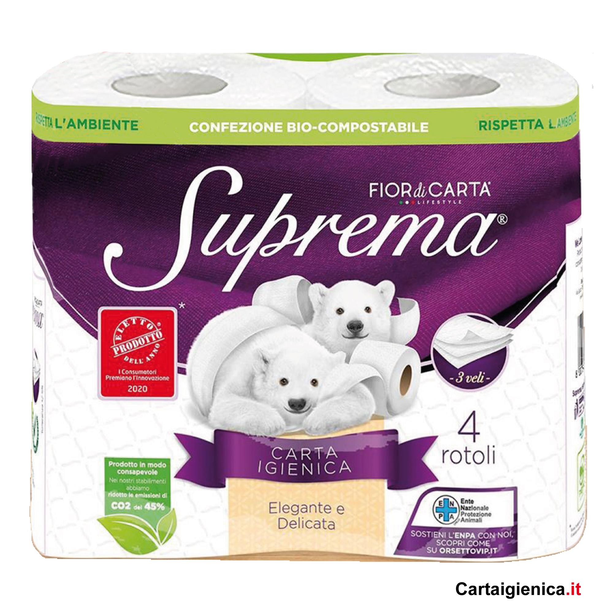 fior di carta suprema 4 rotoli 3 veli carta igienica