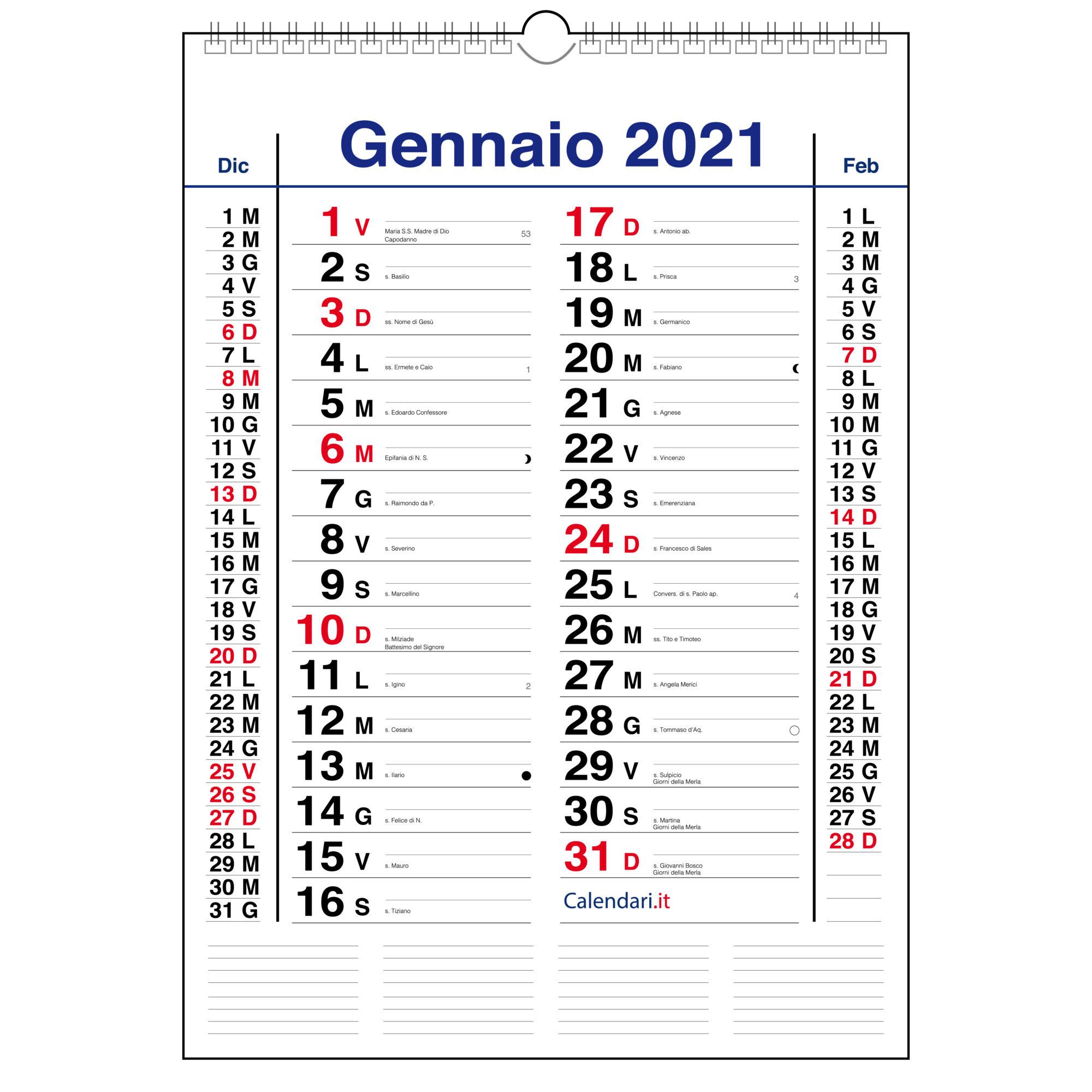 calendario 2021 olandese classico da muro con santi e lune