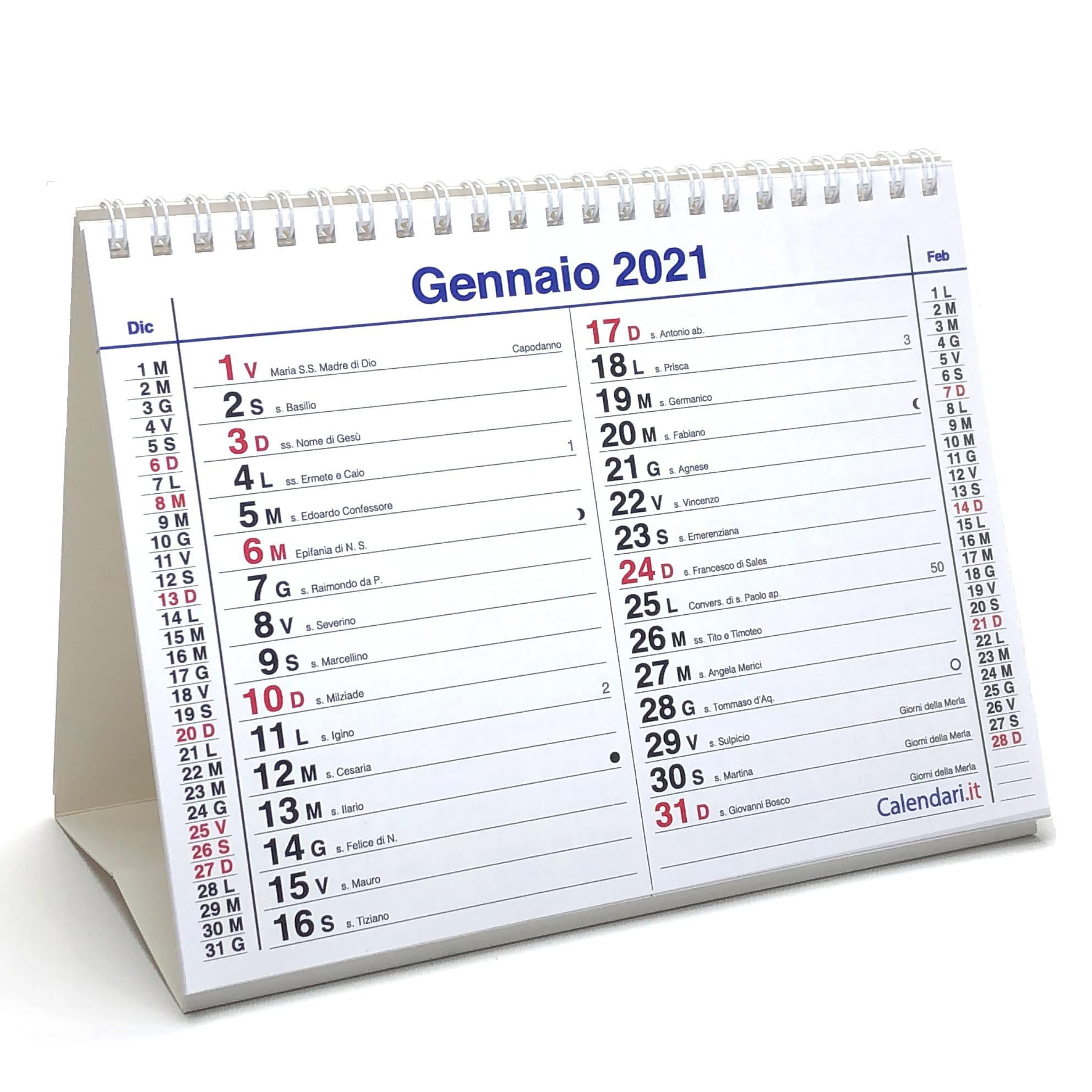 Calendario 2021 tavolo olandese santi e lune 20x15 cm