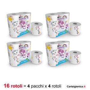 kartika carta igienica unicorn 4 rotoli 4 pacchi 16 rotoli