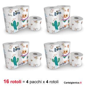 carta igienica lama kartika style collection bambini colorata festa 4 pacchi 16 rotoli