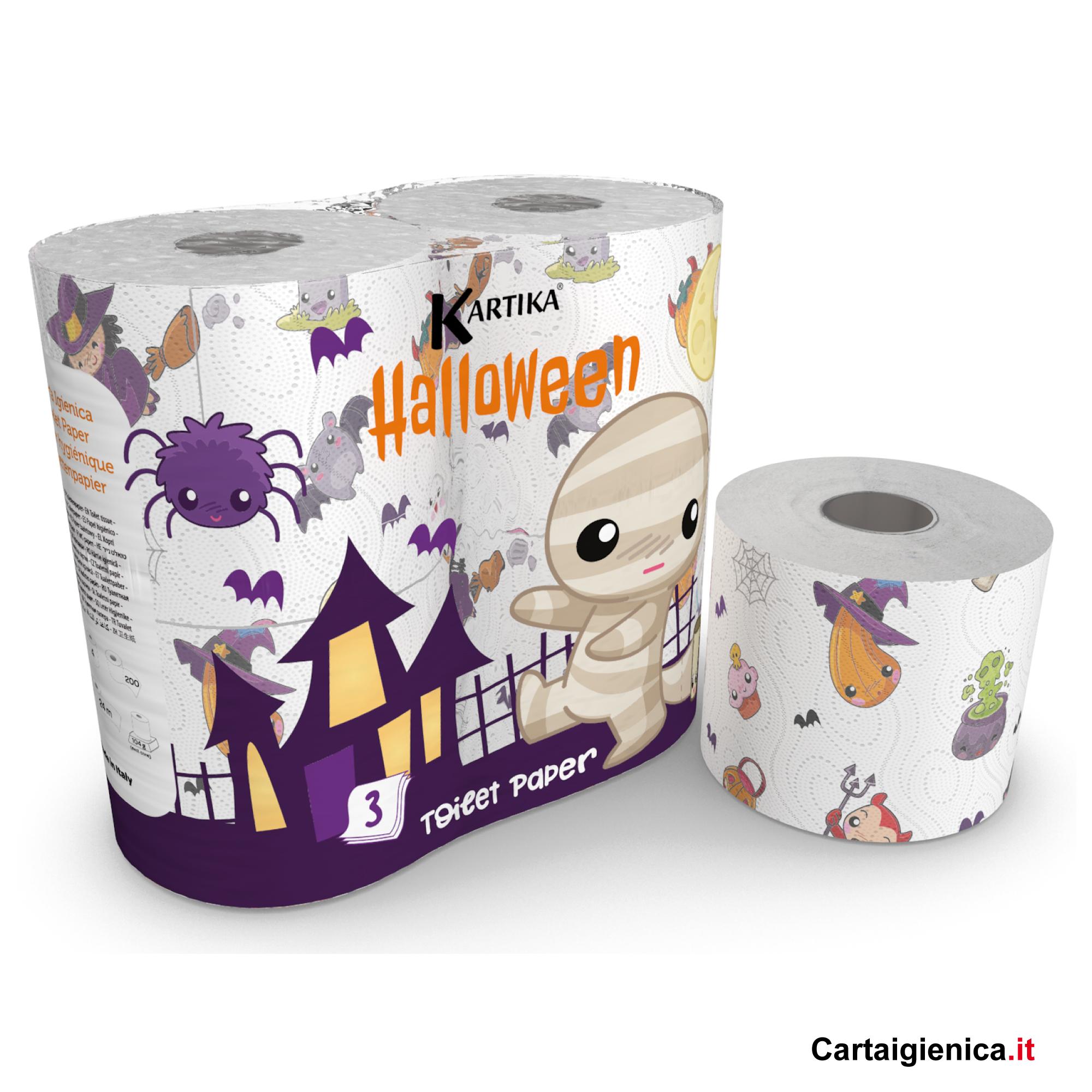 carta igienica halloween kartika style collection 4 rotoli bambini colorata festa