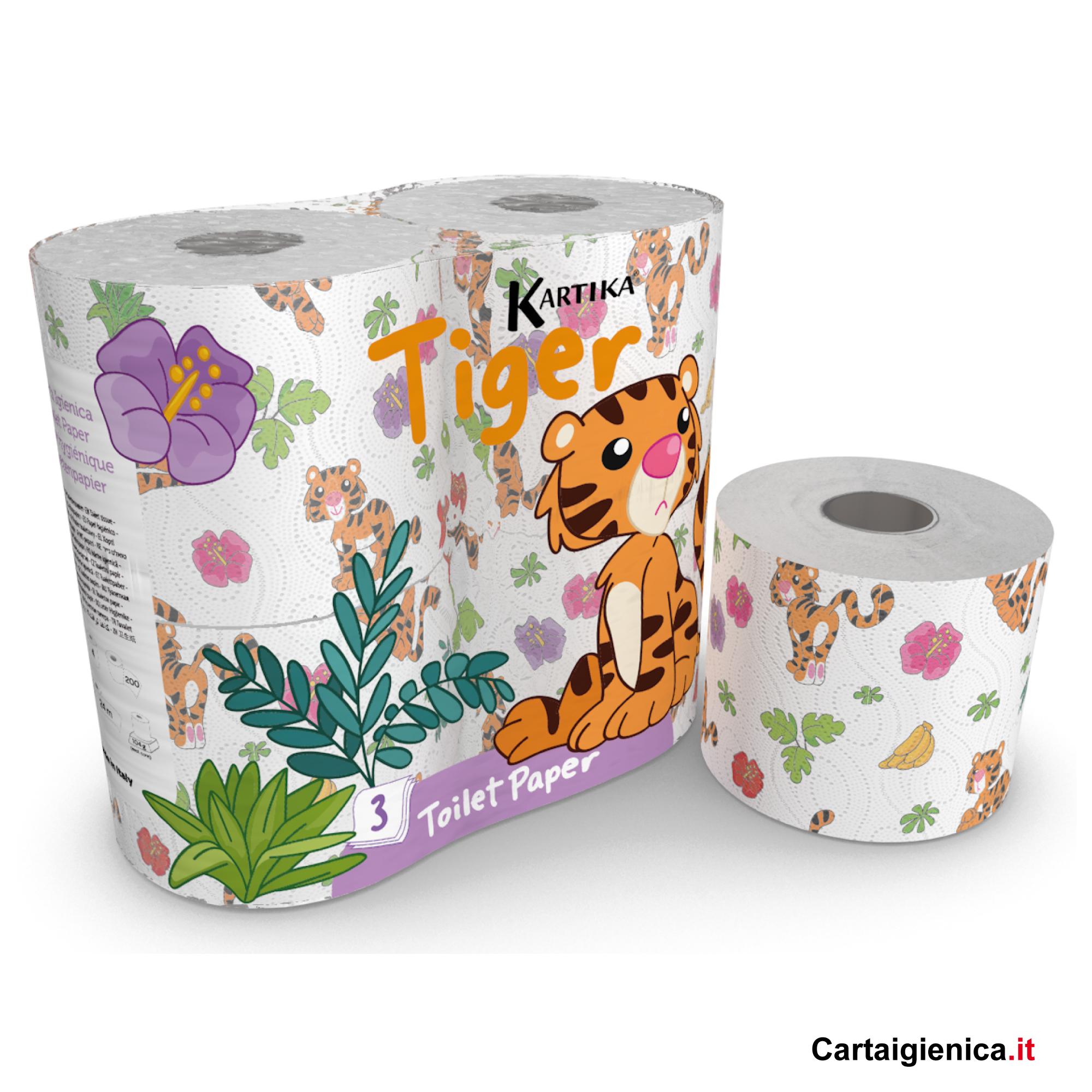 carta igienica tiger kartika stile collection tigre bambini colorata 1 pacco 4 rotoli