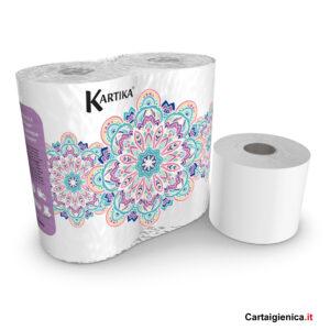 carta igienica kartica bianca 600 strappi bianca 4 rotoli 1 pacco maxi rotoloni