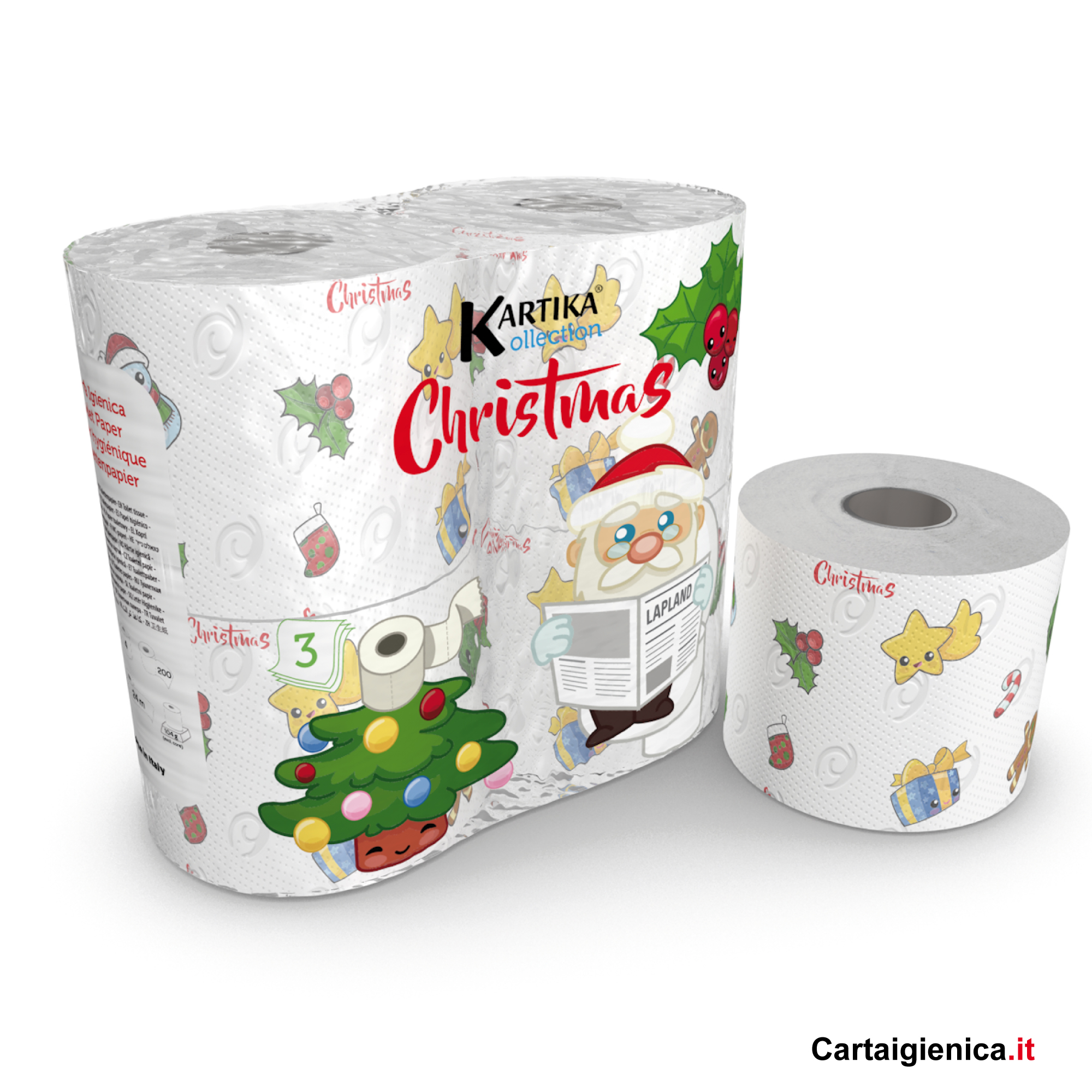carta igienica natale kartika stile kollection bambini colorata idea regalo