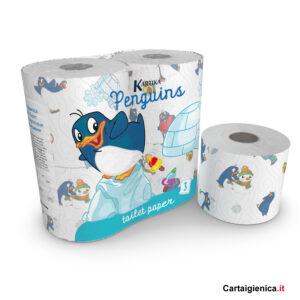 kartika carta igienica pinguino bambini colori allegria bagno