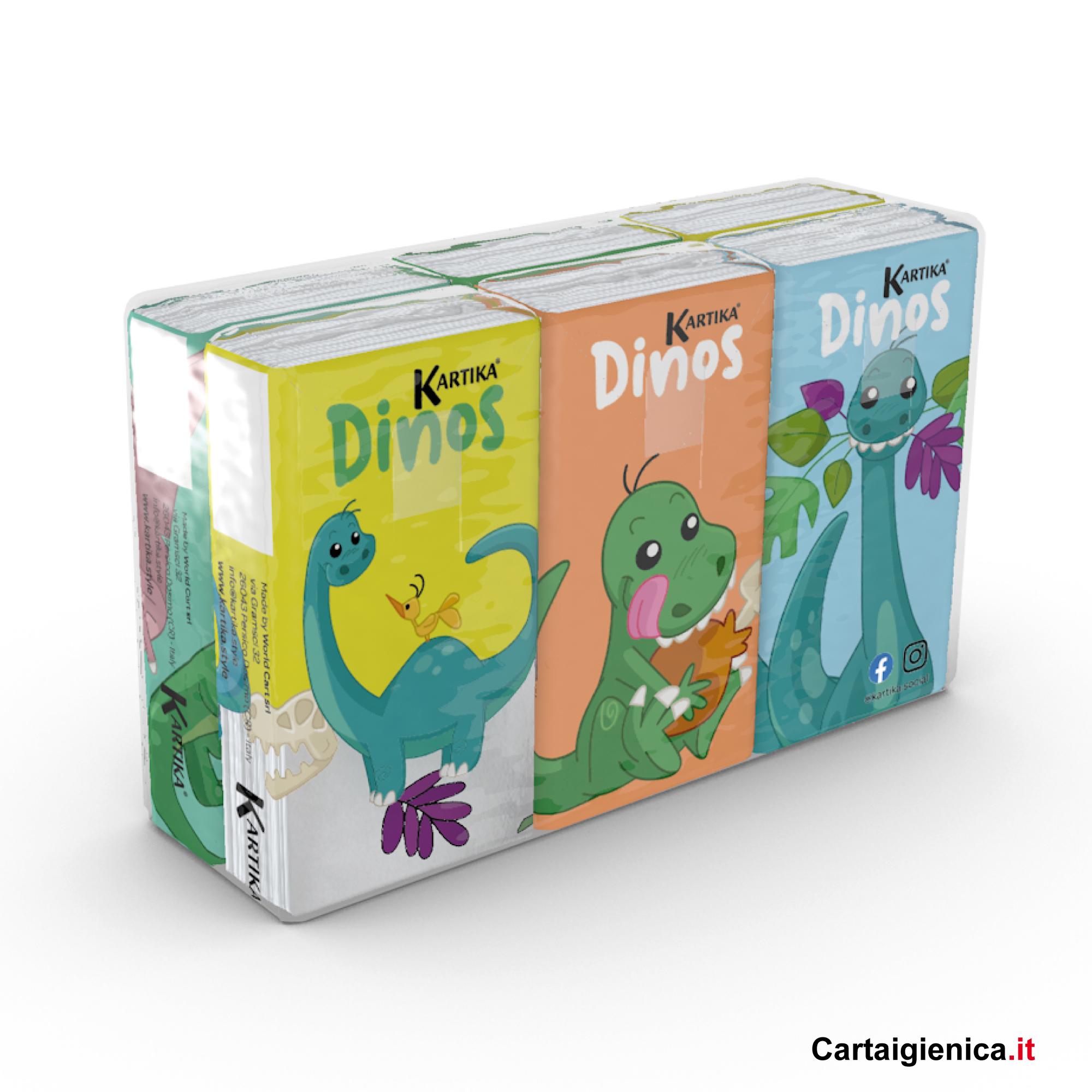 fazzoletti natale dino dinosauro style bambini fazzoletti di carta colorati 6 pacchetti