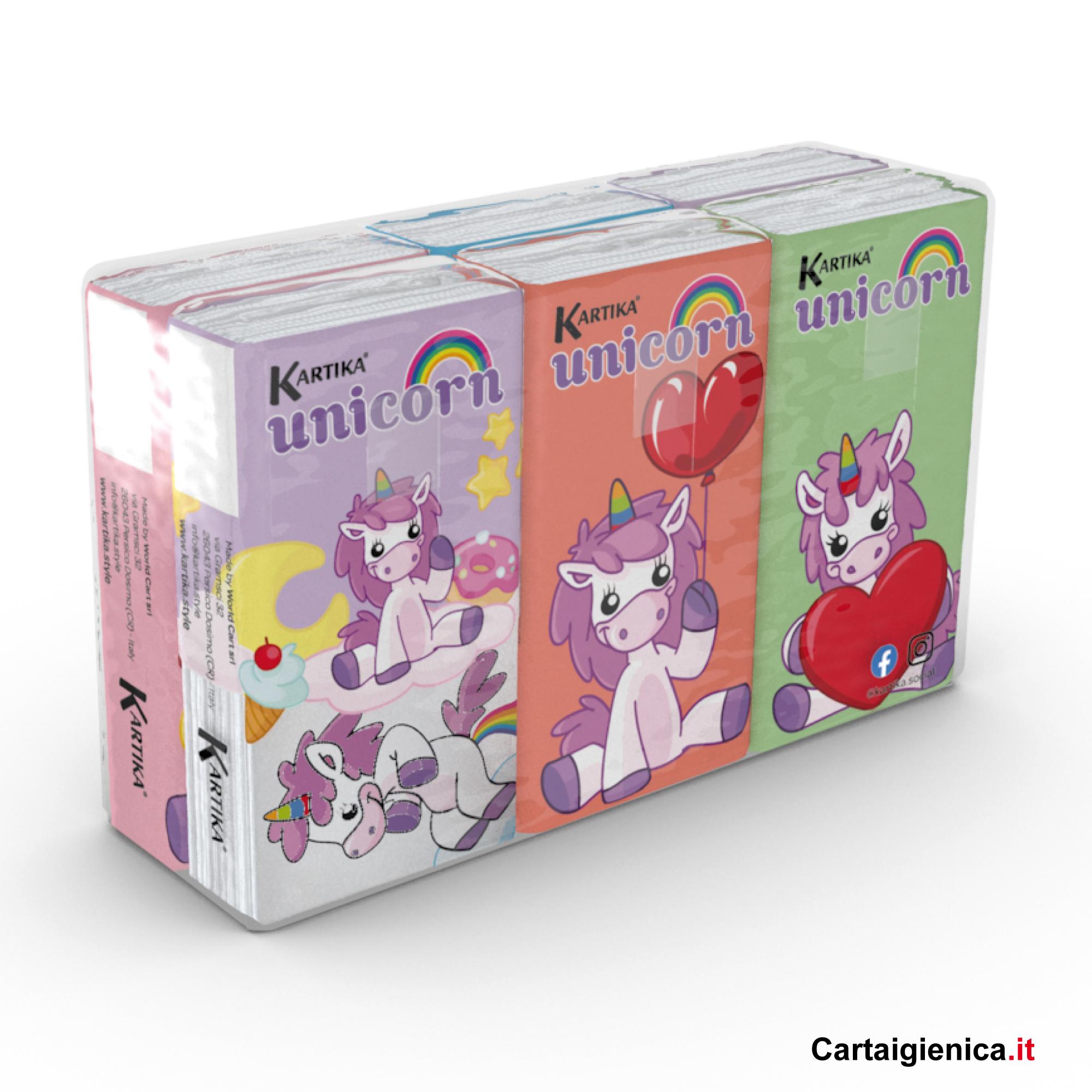 fazzoletti unicorn Kartika Style 6 pacchetti bambini colorati
