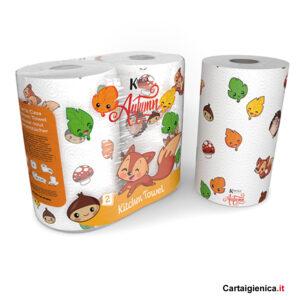 Kartika Autumn - 2 Rotoli Carta Cucina Asciugatutto colorata bambini tavola festa
