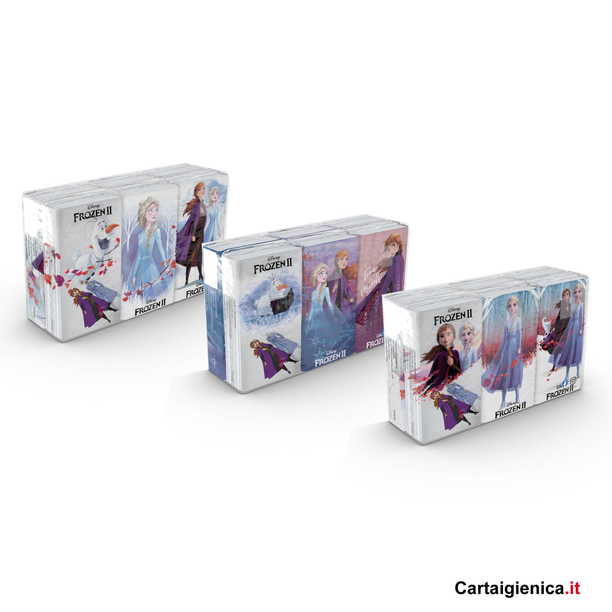 Kartika Frozen II - 1 confezione - 6 pacchetti - 9 fazzoletti a pacchetto - 4 veli fazzoletti di carta bambini