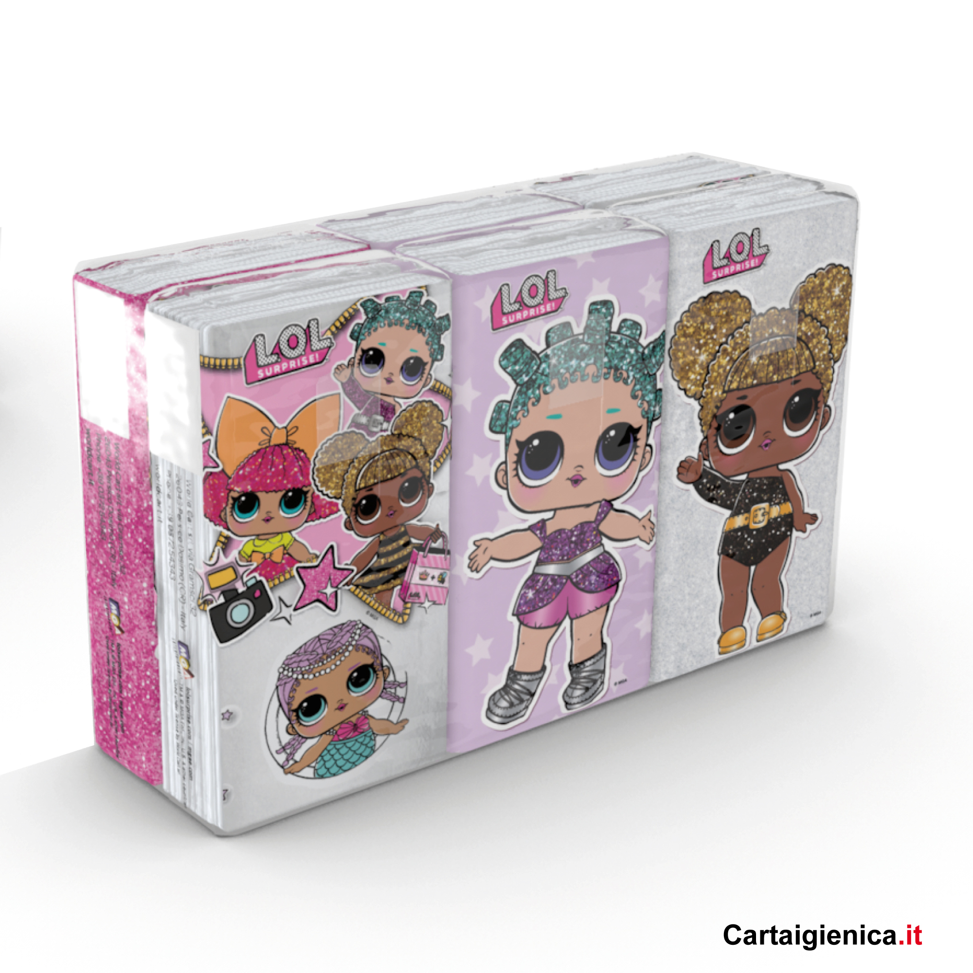 Kartika LOL Surprise - 1 confezione - 6 pacchetti - 9 fazzoletti a pacchetto - 4 veli bambine