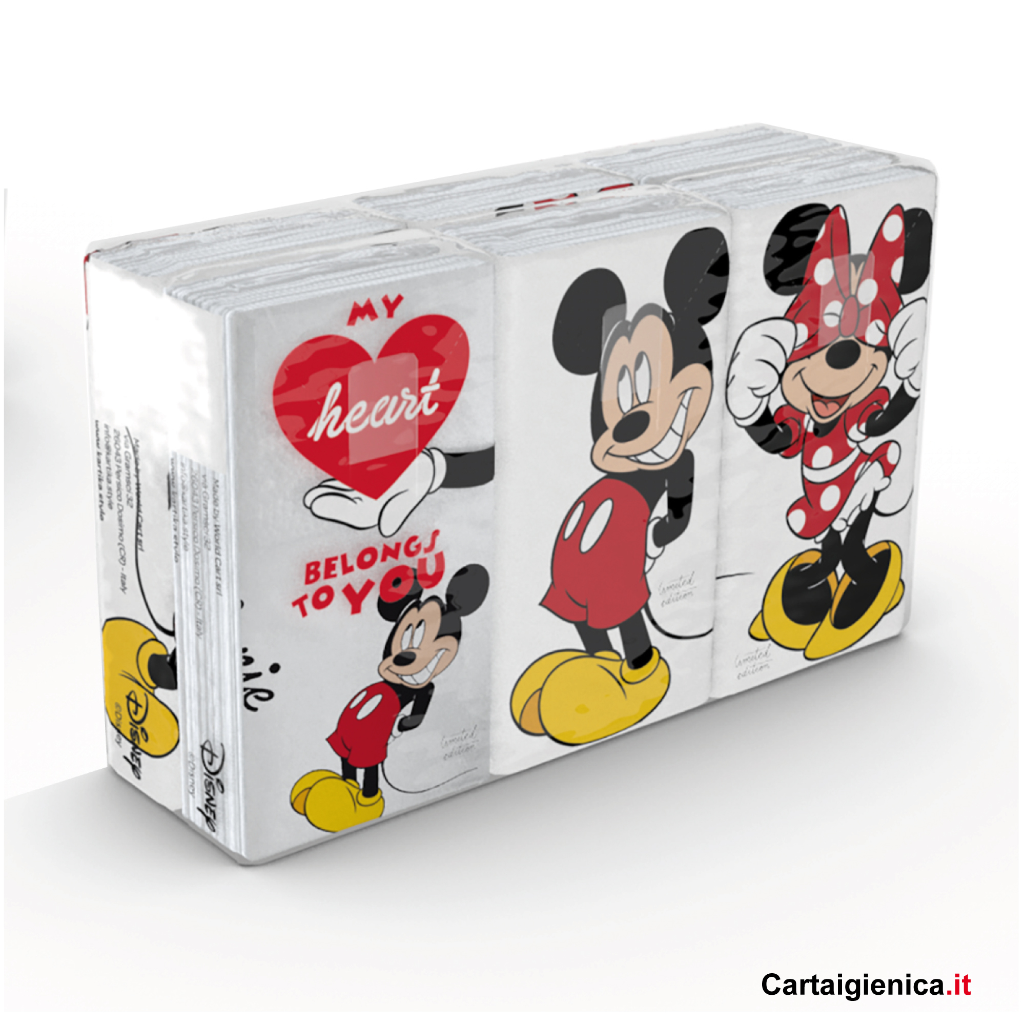 Kartika Mickey e Minnie - 1 confezione - 6 pacchetti - 9 fazzoletti a pacchetto - 4 veli