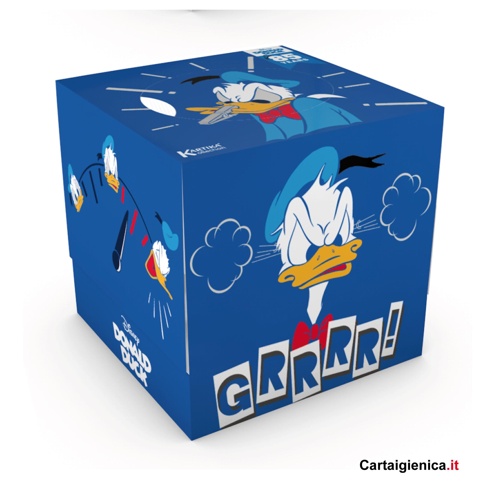 kartika veline donald duck paperino disney box cubo fazzoletti per bambini colori regalo