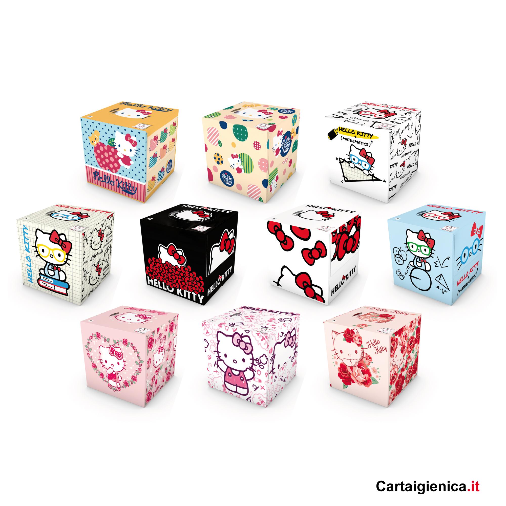 kartika veline hello kitty box cubo fazzoletti per bambini colori regalo