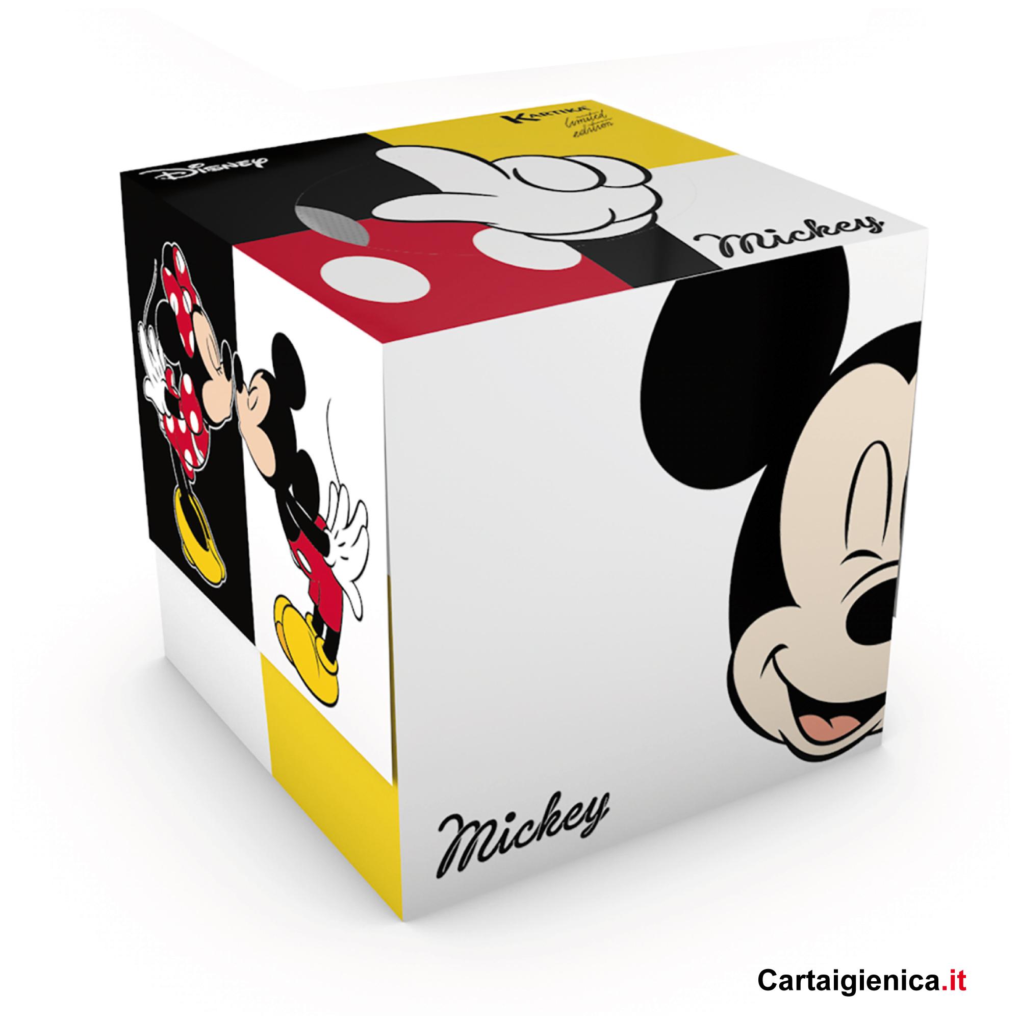 kartika veline topolini e minnie disney box cubo fazzoletti per bambini colori regalo