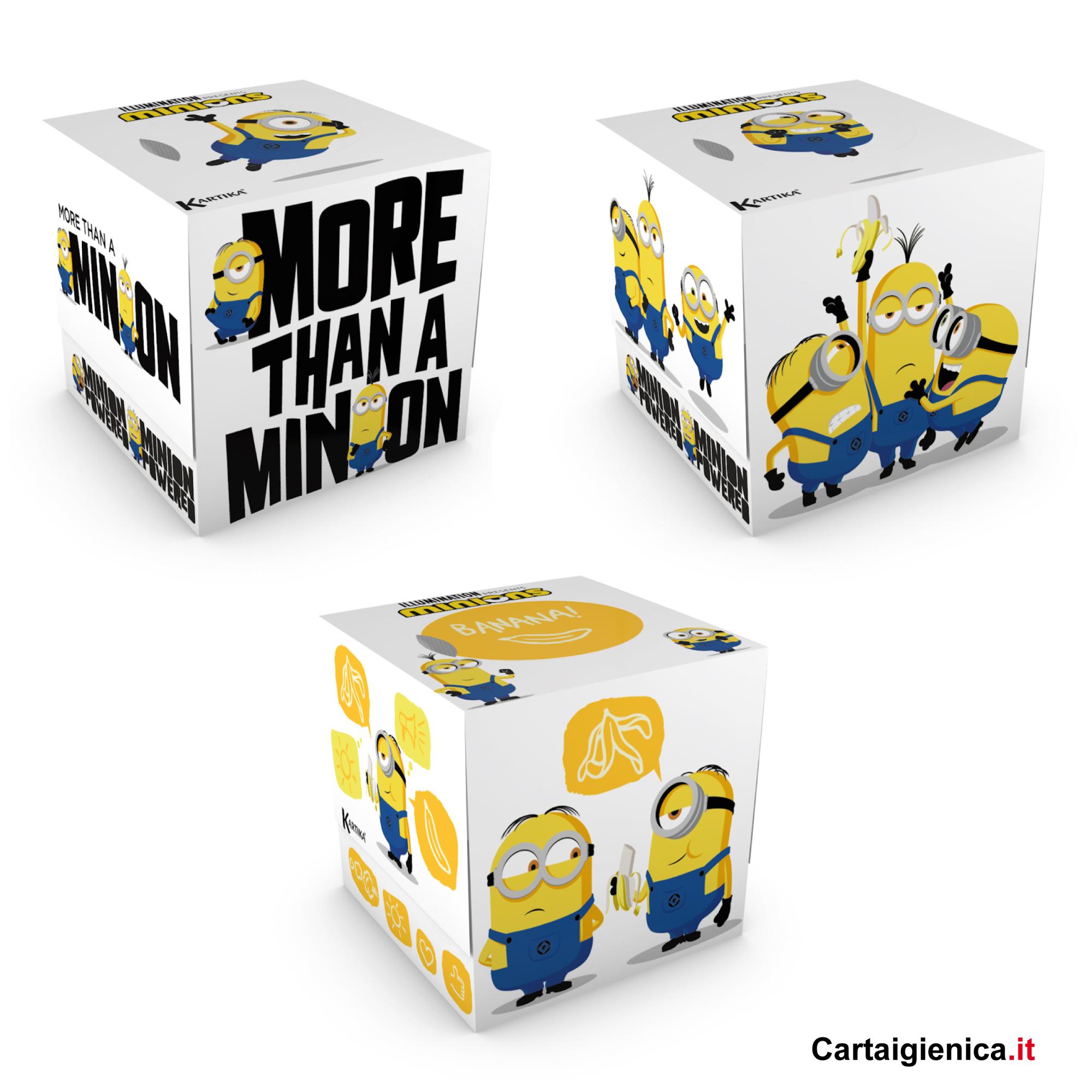 kartika veline minions box cubo fazzoletti per bambini colori regalo