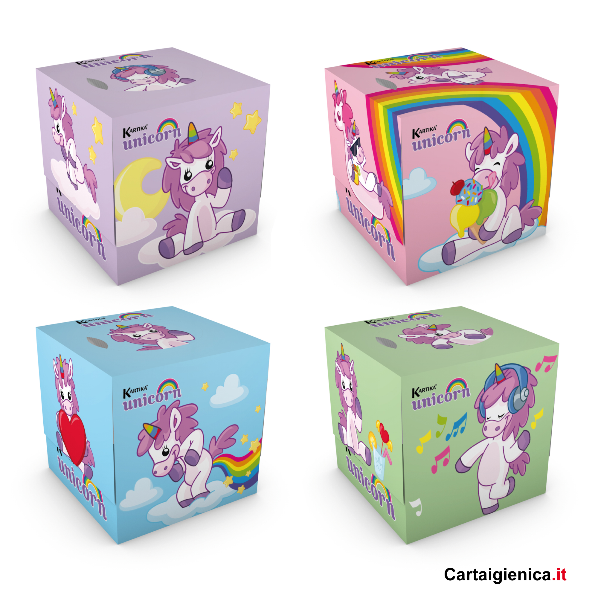 kartika veline unicorn box cubo fazzoletti per bambini colori regalo
