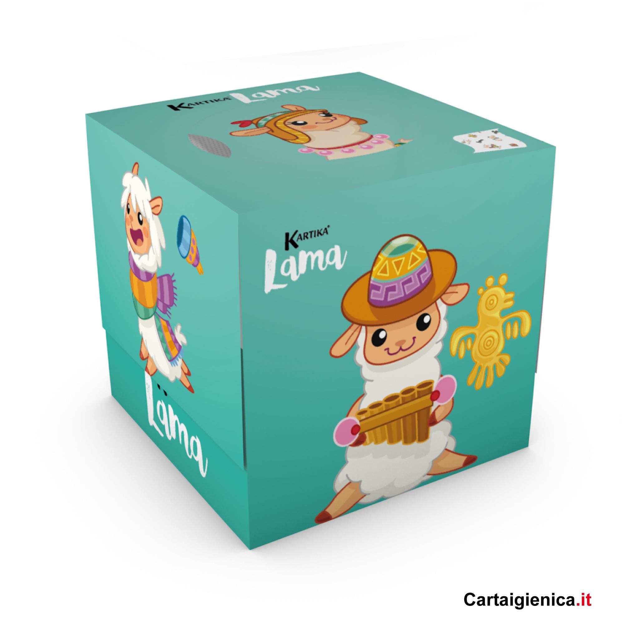 kartika veline lama box cubo fazzoletti per bambini colori regalo