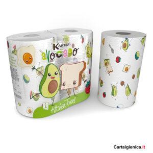 Kartika Avocado - 2 Rotoli Carta Cucina Asciugatutto colorata bambini tavola festa