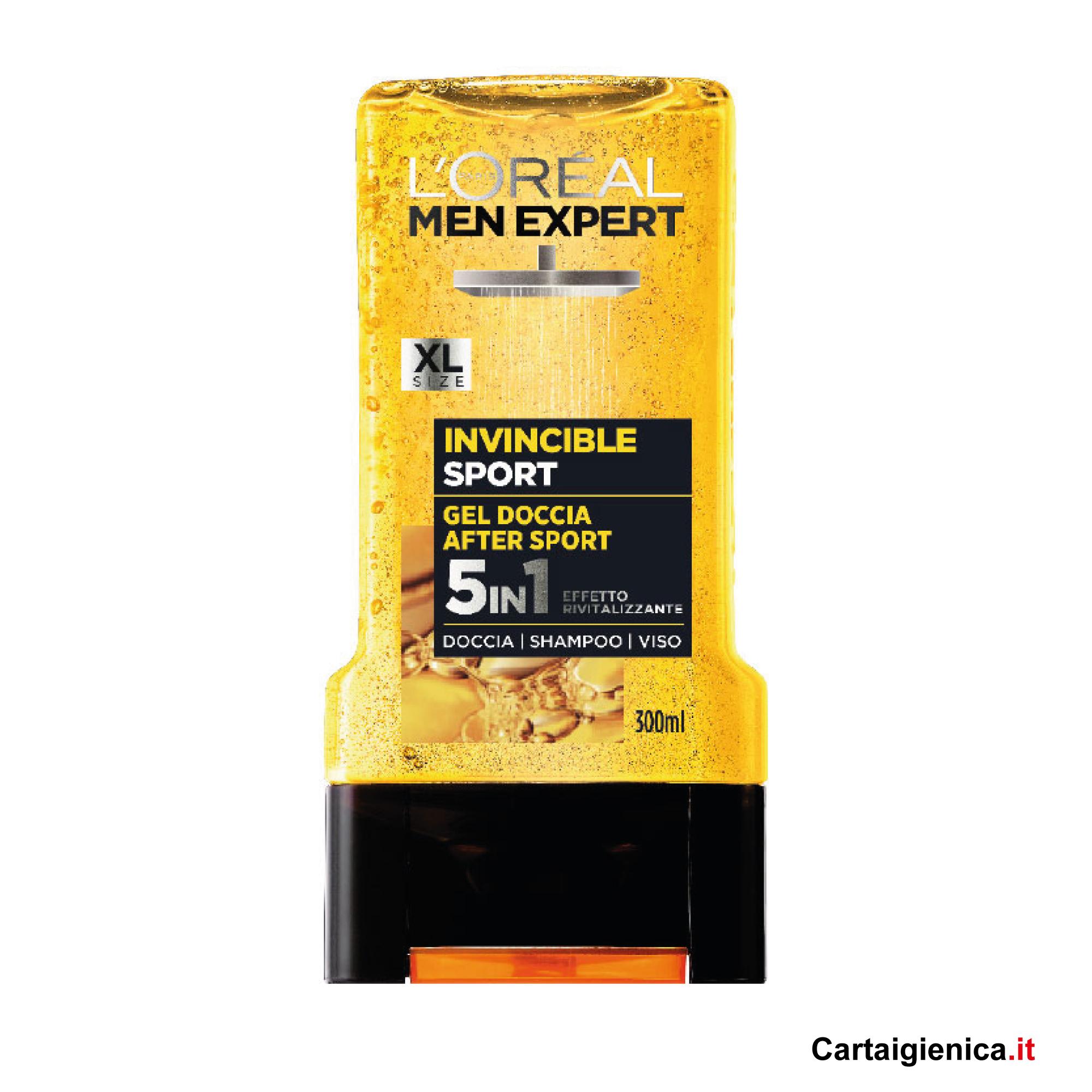 loreal men expert invincible sport gel doccia after sport shampoo viso 300 ml