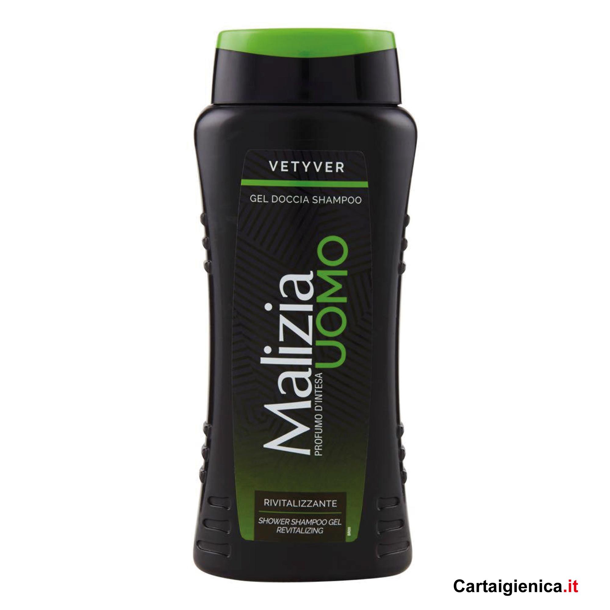 malizia uomo vetyver gel doccia shampoo rivitalizzante 250 ml