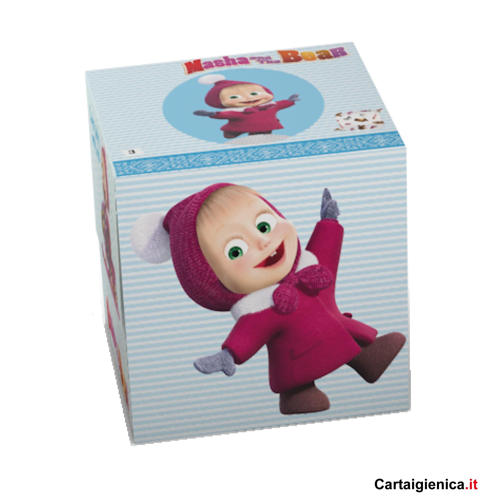 kartika style box scatola veline masha e orso festa bambini fazzoletti colori