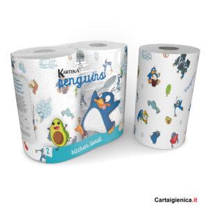 kartika style carta cucina penguins pinguini festa bambini colori