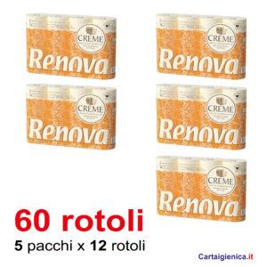 renova cream carta igienica 12 rotoli 5 pacchi 60 rotoli 4 veli