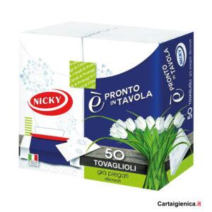 Nicky Tovaglioli Pronto in Tavola 1 pacco - 38x38 - 2 veli - contenuto 50 tovaglioli