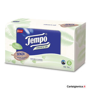 Tempo Fazzoletti in box Natural Soft 1 scatola - 70 fazzoletti - 4 veli